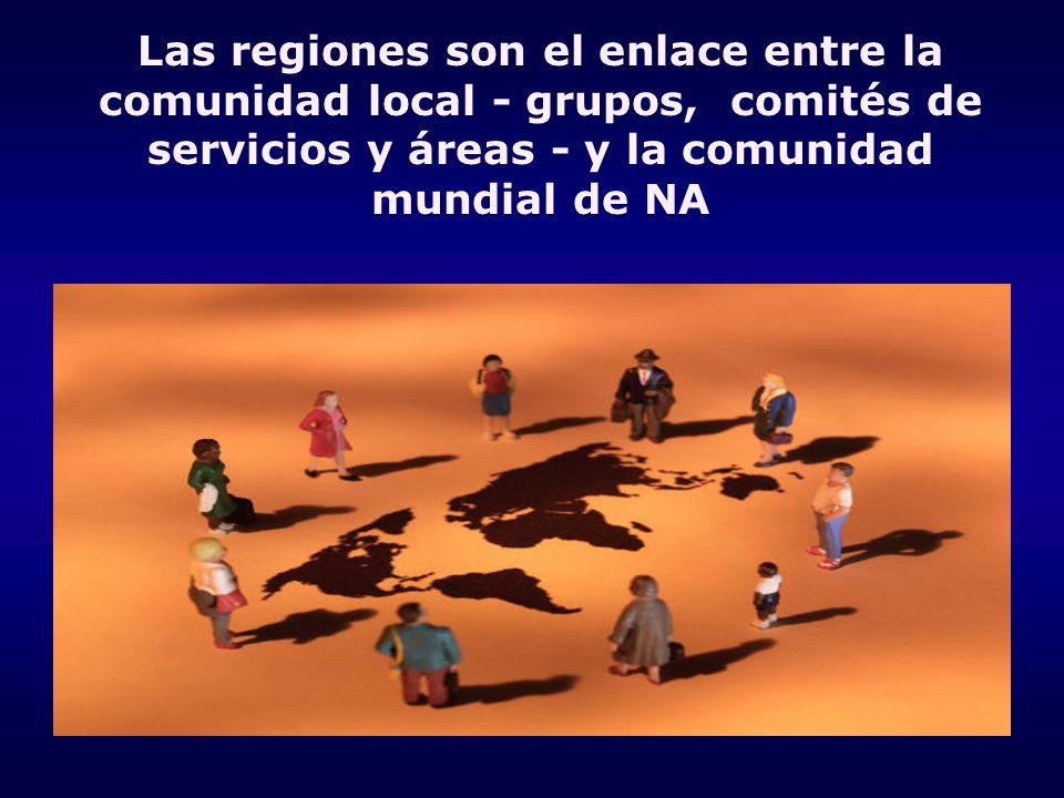 Las regiones son el enlace entre la comunidad local - grupos, comités de servicios y áreas - y la comunidad mundial de NA