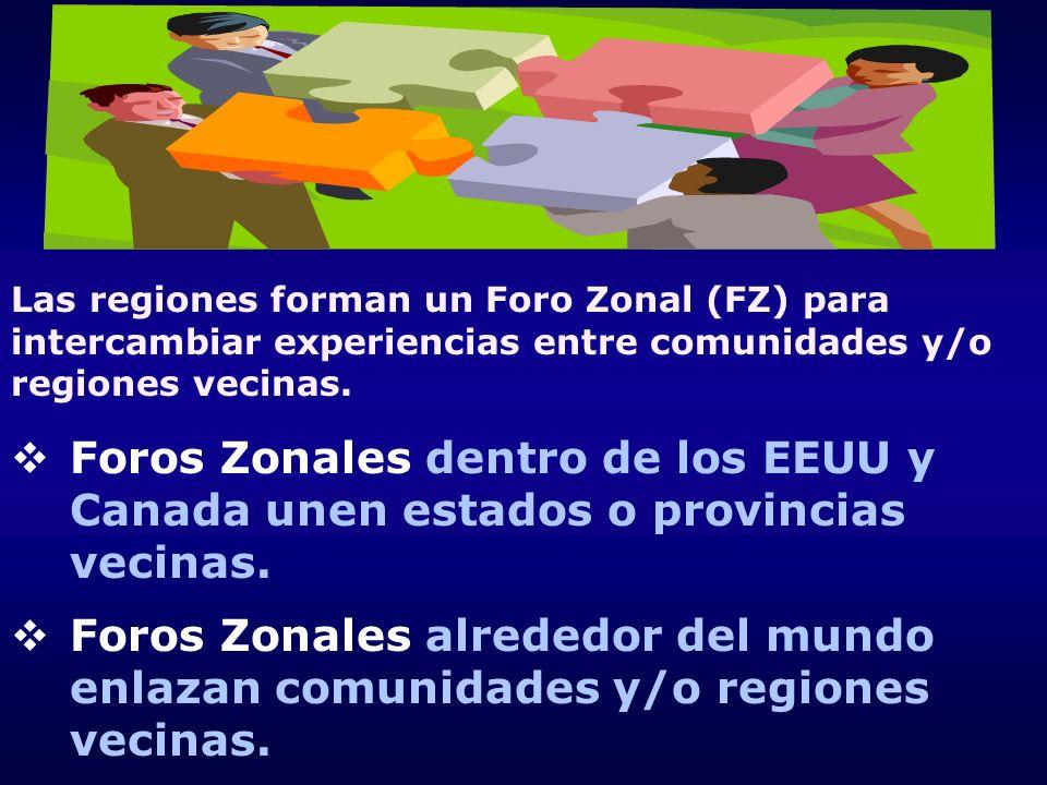 Las regiones forman un Foro Zonal (FZ) para intercambiar experiencias entre comunidades y/o regiones vecinas. Foros Zonales dentro de los EEUU y Canad