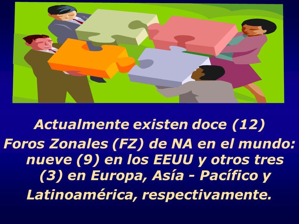 Actualmente existen doce (12) Foros Zonales (FZ) de NA en el mundo: nueve (9) en los EEUU y otros tres (3) en Europa, Asía - Pacífico y Latinoamérica,