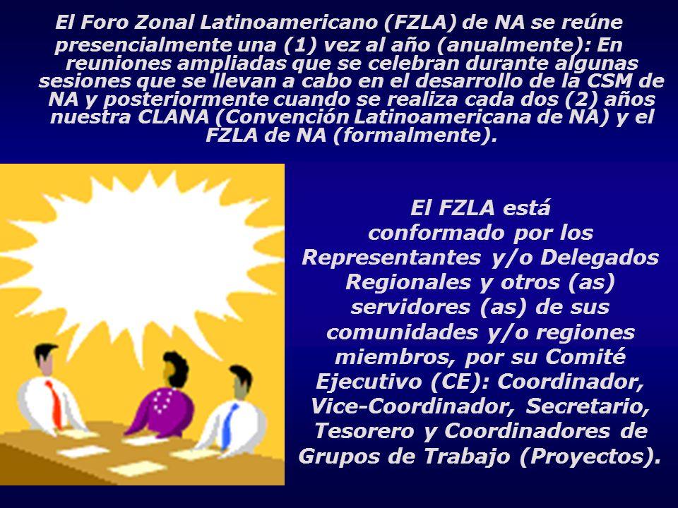 El Foro Zonal Latinoamericano (FZLA) de NA se reúne presencialmente una (1) vez al año (anualmente): En reuniones ampliadas que se celebran durante al