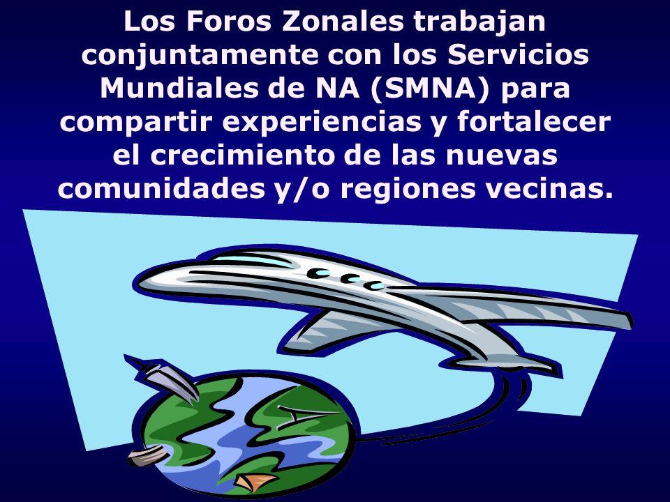 Los Foros Zonales trabajan conjuntamente con los Servicios Mundiales de NA (SMNA) para compartir experiencias y fortalecer el crecimiento de las nueva
