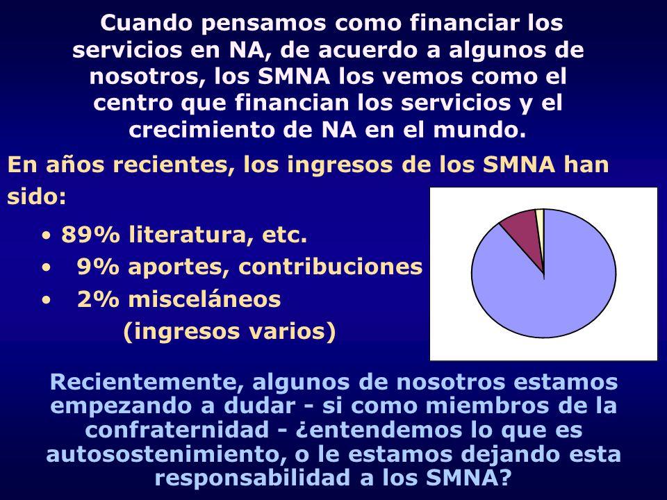 Cuando pensamos como financiar los servicios en NA, de acuerdo a algunos de nosotros, los SMNA los vemos como el centro que financian los servicios y