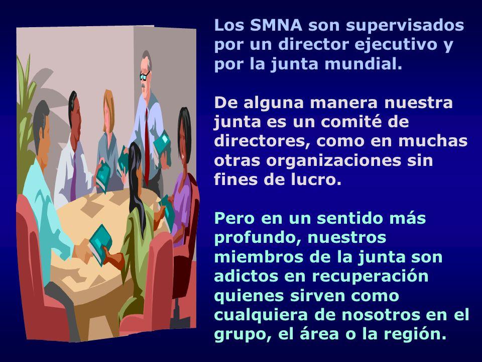 Los SMNA son supervisados por un director ejecutivo y por la junta mundial. De alguna manera nuestra junta es un comité de directores, como en muchas