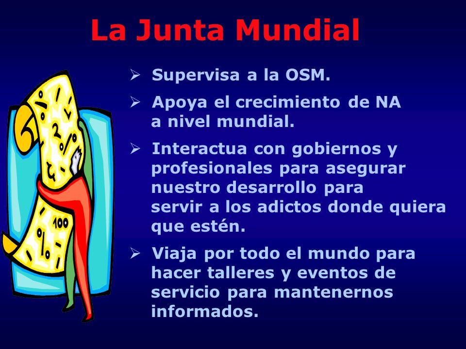 La Junta Mundial Supervisa a la OSM. Apoya el crecimiento de NA a nivel mundial. Interactua con gobiernos y profesionales para asegurar nuestro desarr
