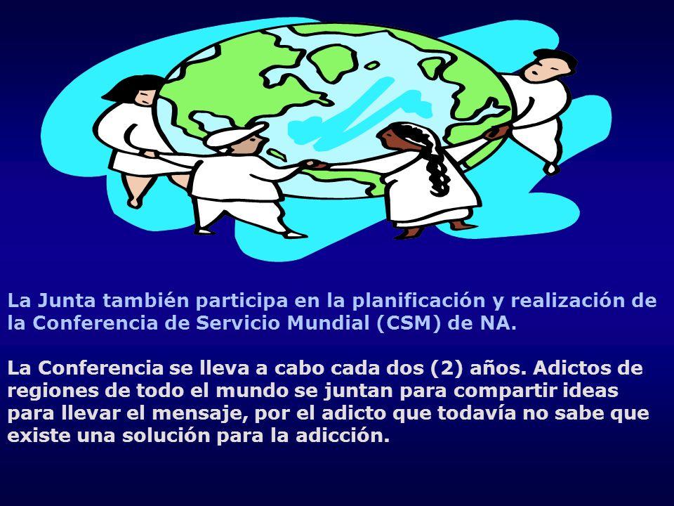 La Junta también participa en la planificación y realización de la Conferencia de Servicio Mundial (CSM) de NA. La Conferencia se lleva a cabo cada do