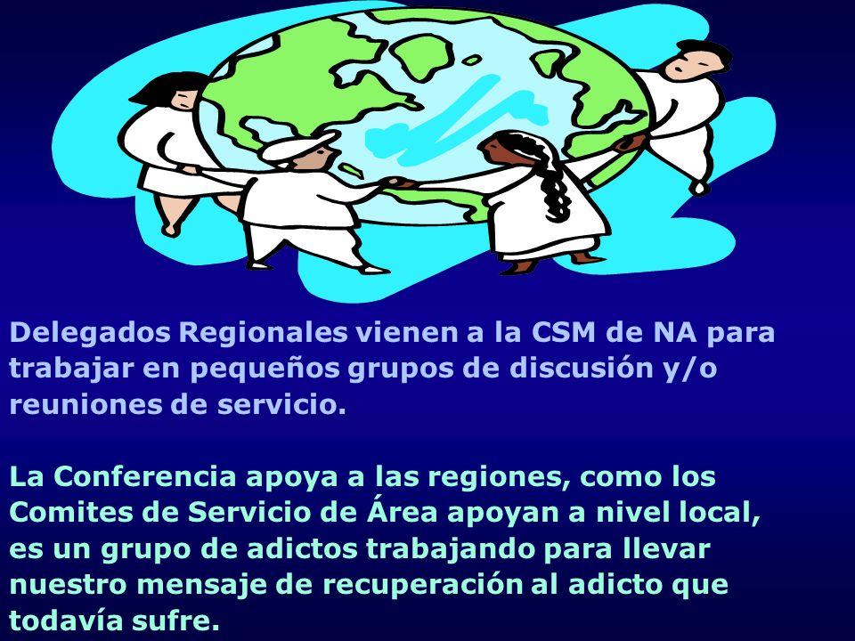 Delegados Regionales vienen a la CSM de NA para trabajar en pequeños grupos de discusión y/o reuniones de servicio. La Conferencia apoya a las regione