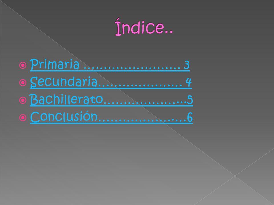 Primaria …………………… 3 Secundaria………………… 4 Bachillerato………………...5 Conclusión……………….…6