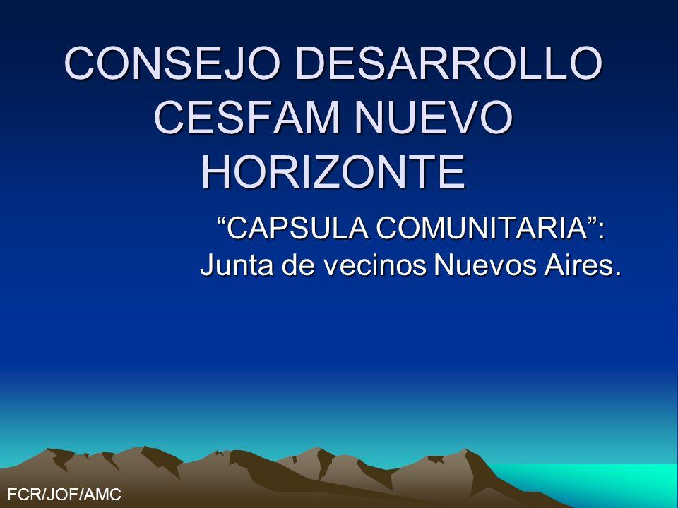 CONSEJO DESARROLLO CESFAM NUEVO HORIZONTE CAPSULA COMUNITARIA: Junta de vecinos Nuevos Aires. FCR/JOF/AMC