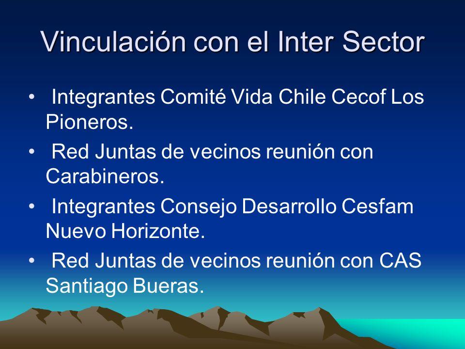 Vinculación con el Inter Sector Integrantes Comité Vida Chile Cecof Los Pioneros. Red Juntas de vecinos reunión con Carabineros. Integrantes Consejo D