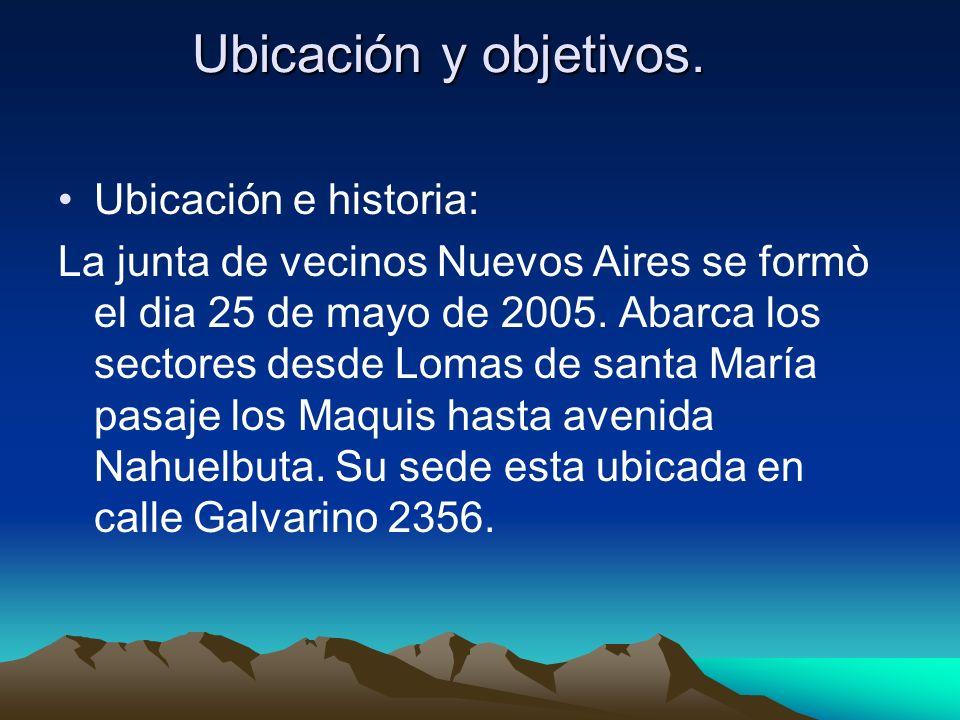 Ubicación y objetivos. Ubicación e historia: La junta de vecinos Nuevos Aires se formò el dia 25 de mayo de 2005. Abarca los sectores desde Lomas de s