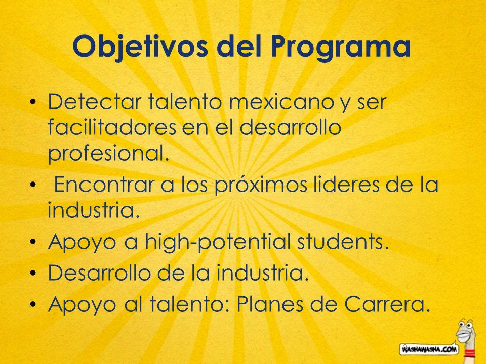 3 Objetivos del Programa Detectar talento mexicano y ser facilitadores en el desarrollo profesional. Encontrar a los próximos lideres de la industria.