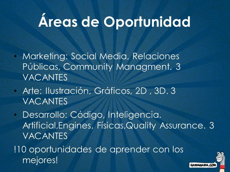 5 Áreas de Oportunidad Marketing: Social Media, Relaciones Públicas, Community Managment. 3 VACANTES Arte: Ilustración, Gráficos, 2D, 3D. 3 VACANTES D