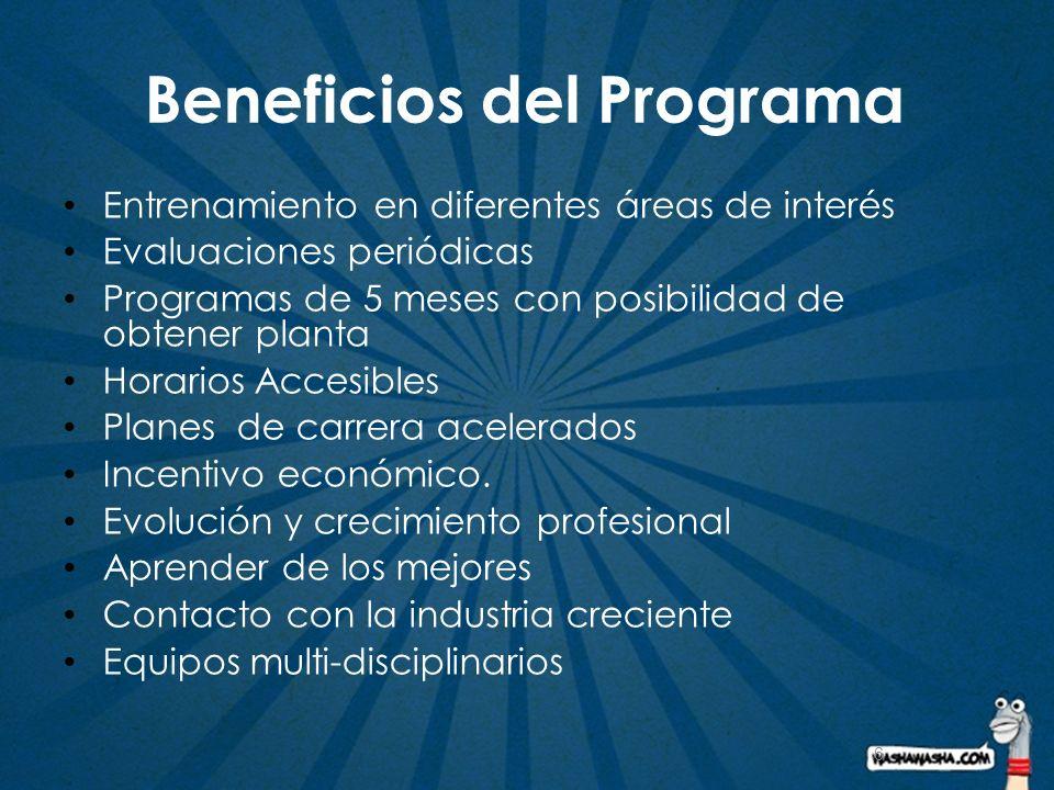 6 Beneficios del Programa Entrenamiento en diferentes áreas de interés Evaluaciones periódicas Programas de 5 meses con posibilidad de obtener planta