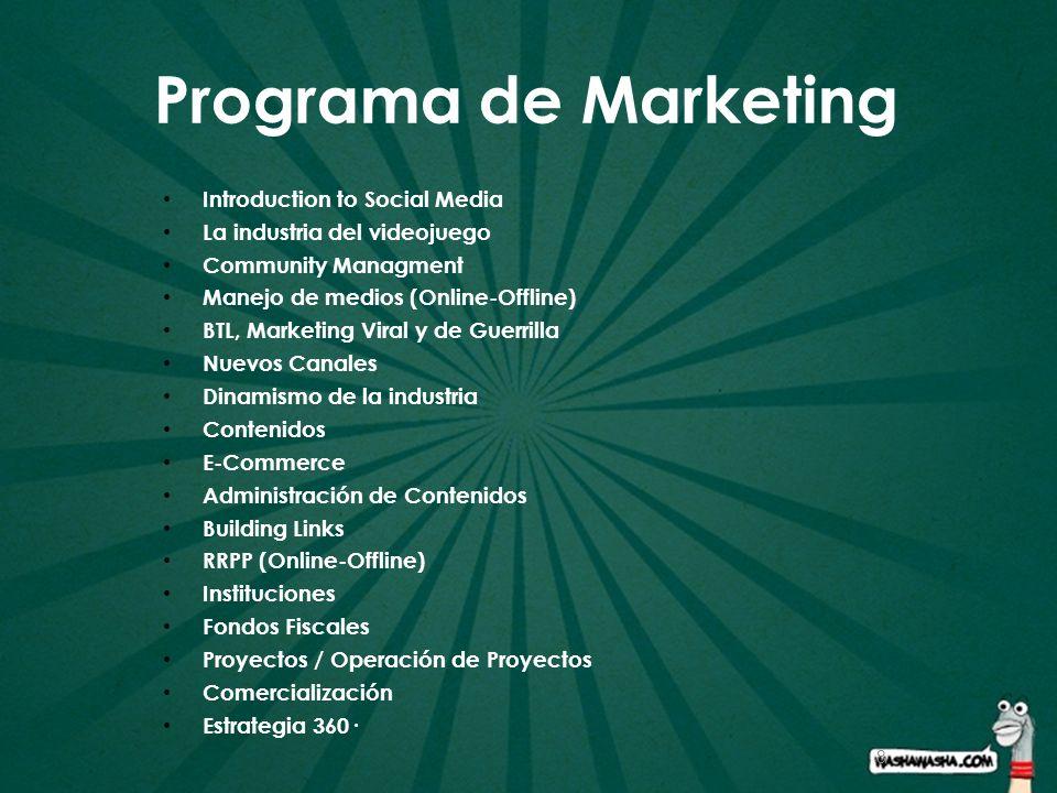 8 Programa de Marketing Introduction to Social Media La industria del videojuego Community Managment Manejo de medios (Online-Offline) BTL, Marketing