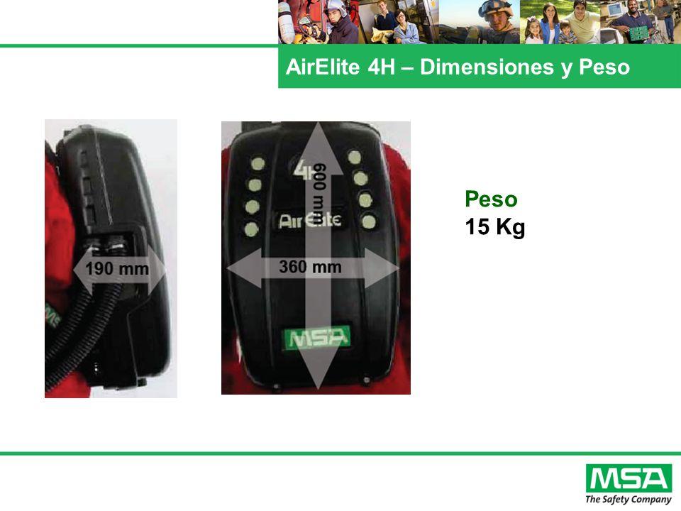 AirElite 4H – Dimensiones y Peso Peso 15 Kg