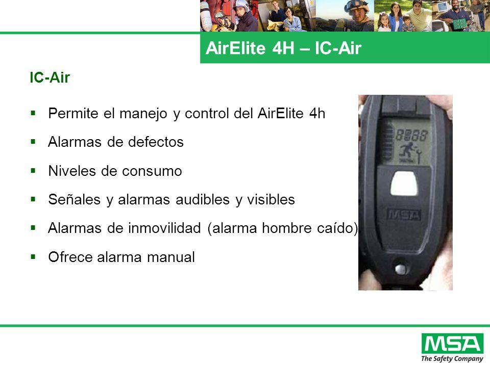 AirElite 4H – IC-Air IC-Air Permite el manejo y control del AirElite 4h Alarmas de defectos Niveles de consumo Señales y alarmas audibles y visibles A