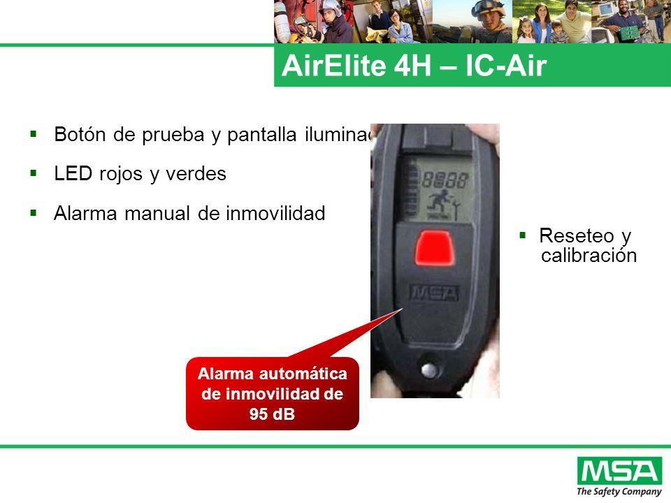 AirElite 4H – IC-Air Botón de prueba y pantalla iluminada LED rojos y verdes Alarma manual de inmovilidad Alarma automática de inmovilidad de 95 dB Re