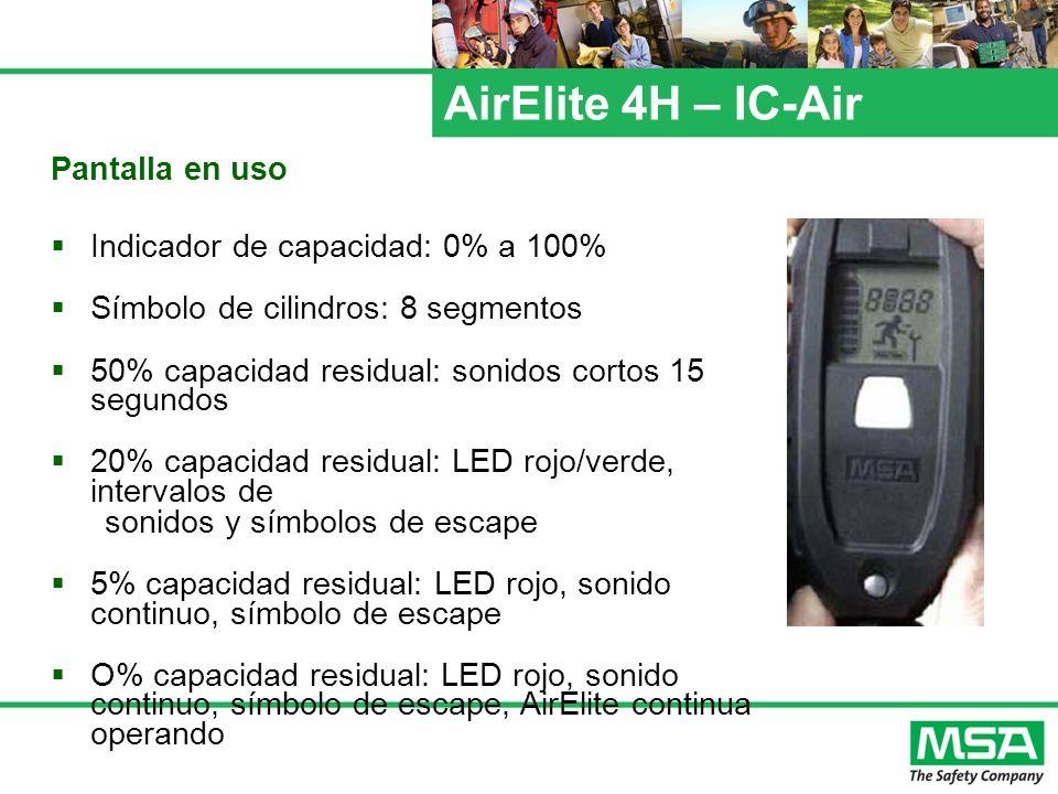 AirElite 4H – IC-Air Pantalla en uso Indicador de capacidad: 0% a 100% Símbolo de cilindros: 8 segmentos 50% capacidad residual: sonidos cortos 15 seg
