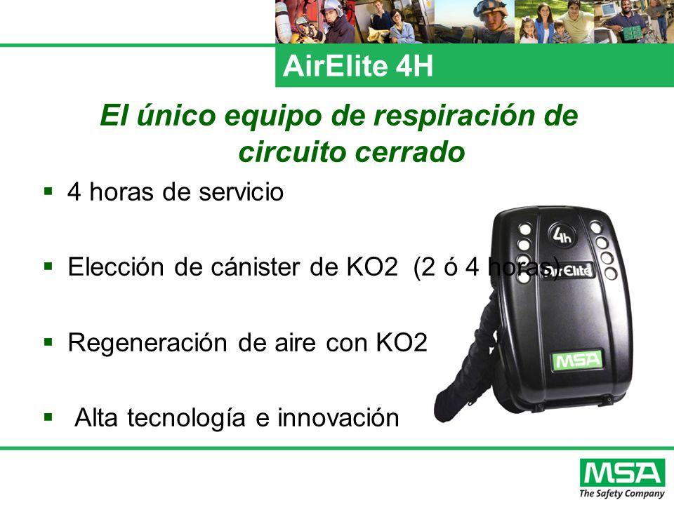 AirElite 4H El único equipo de respiración de circuito cerrado 4 horas de servicio Elección de cánister de KO2 (2 ó 4 horas) Regeneración de aire con