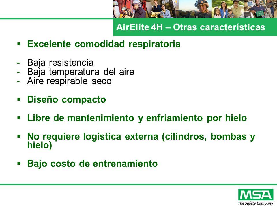 Excelente comodidad respiratoria -Baja resistencia -Baja temperatura del aire -Aire respirable seco Diseño compacto Libre de mantenimiento y enfriamie