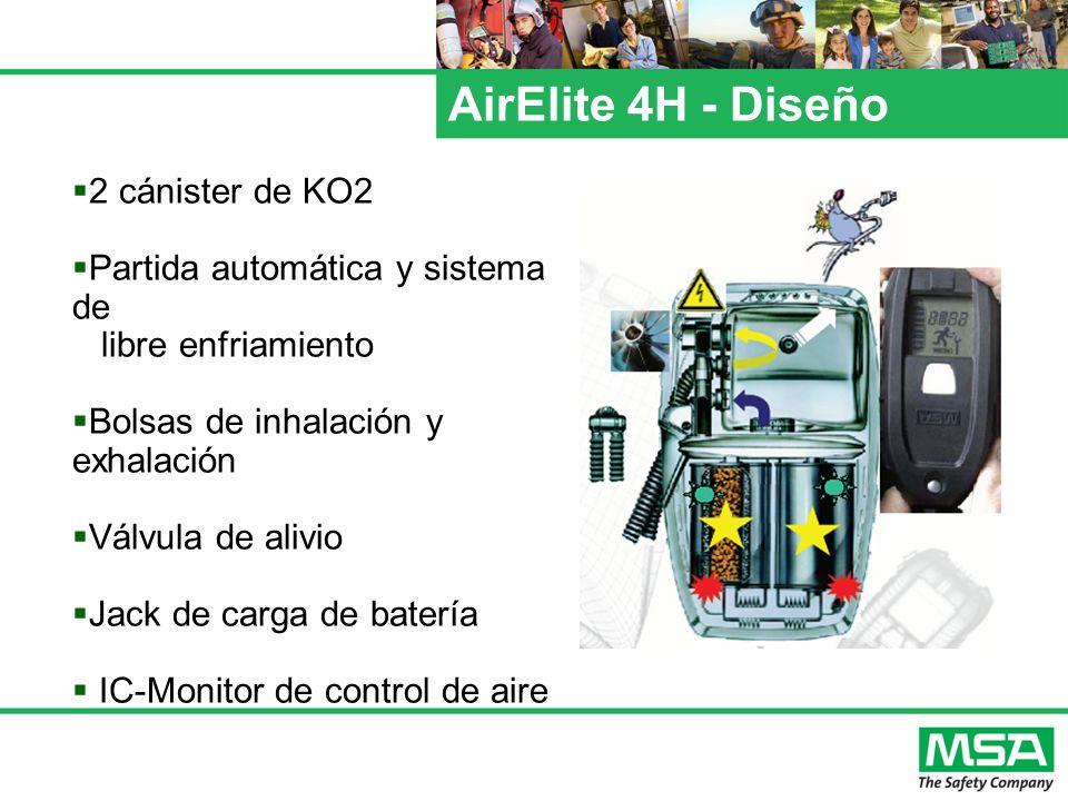 AirElite 4H - Diseño 2 cánister de KO2 Partida automática y sistema de libre enfriamiento Bolsas de inhalación y exhalación Válvula de alivio Jack de
