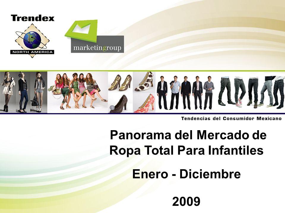 Trendex Mexico M-A409-OVV-01p 32 Detallistas por Canal de Distribución 200720082009 Tienda Departamental27.5%26.8%25.8% Autoservicio25.5%22.1%20.3% Tienda de Ropa/Boutique16.8%18.3%22.3% Tianguis/Mercado28.2%29.8%28.2% Venta Directa1.4%1.0%2.0% Otros0.6%2.0%1.4% Total100% Enero - Diciembre Pesos Mercado de Ropa para Bebés MERCADO TOTAL MEXICANO DE ROPA PARA BEBES