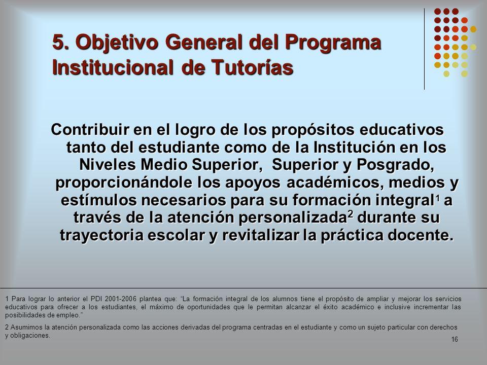 16 5. Objetivo General del Programa Institucional de Tutorías Contribuir en el logro de los propósitos educativos tanto del estudiante como de la Inst