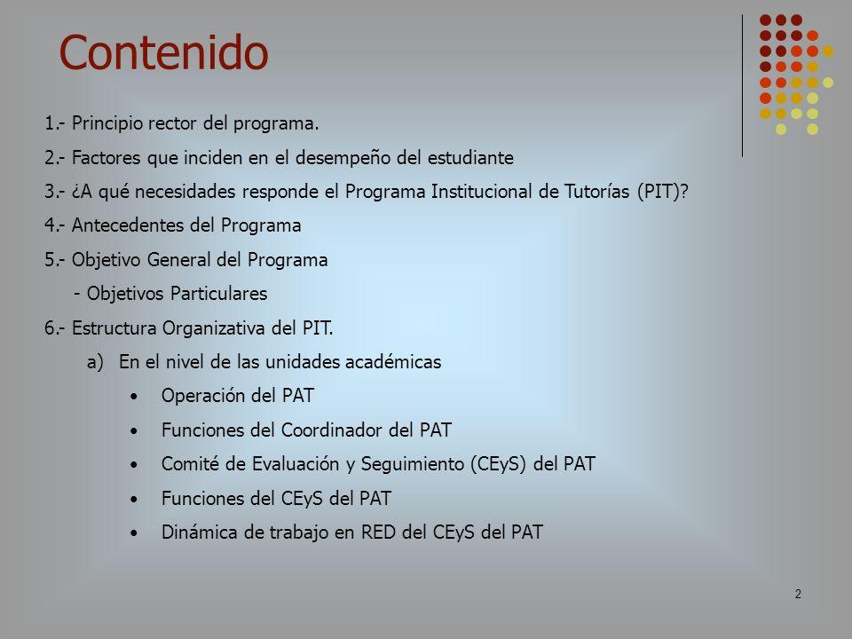 2 1.- Principio rector del programa. 2.- Factores que inciden en el desempeño del estudiante 3.- ¿A qué necesidades responde el Programa Institucional