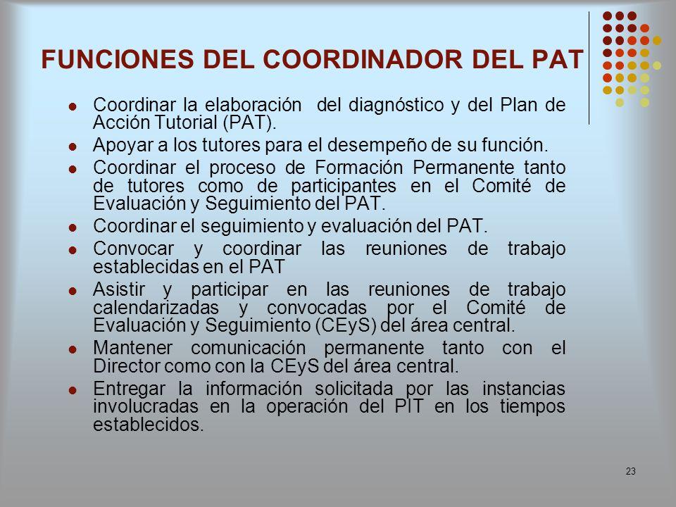 23 FUNCIONES DEL COORDINADOR DEL PAT Coordinar la elaboración del diagnóstico y del Plan de Acción Tutorial (PAT). Apoyar a los tutores para el desemp