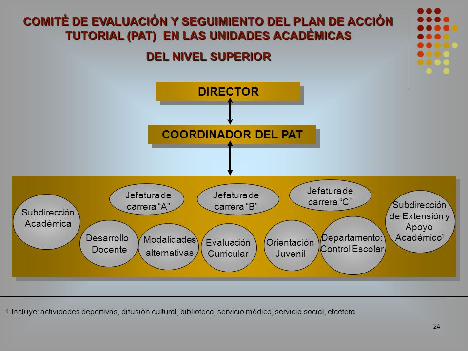 24 DIRECTOR Desarrollo Docente Subdirección de Extensión y Apoyo Académico 1 Jefatura de carrera A Jefatura de carrera B Modalidades alternativas Orie