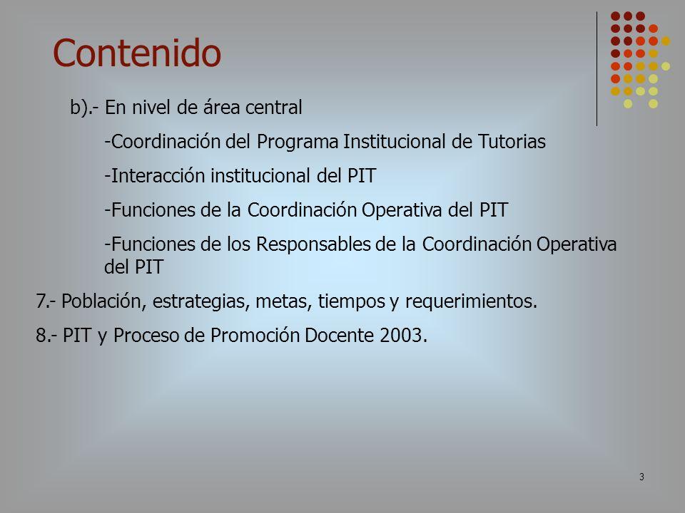 3 b).- En nivel de área central -Coordinación del Programa Institucional de Tutorias -Interacción institucional del PIT -Funciones de la Coordinación