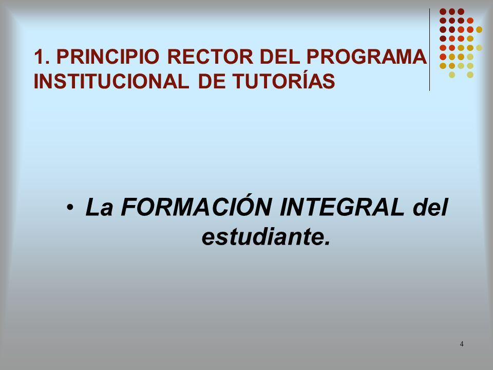 4 La FORMACIÓN INTEGRAL del estudiante. 1. PRINCIPIO RECTOR DEL PROGRAMA INSTITUCIONAL DE TUTORÍAS