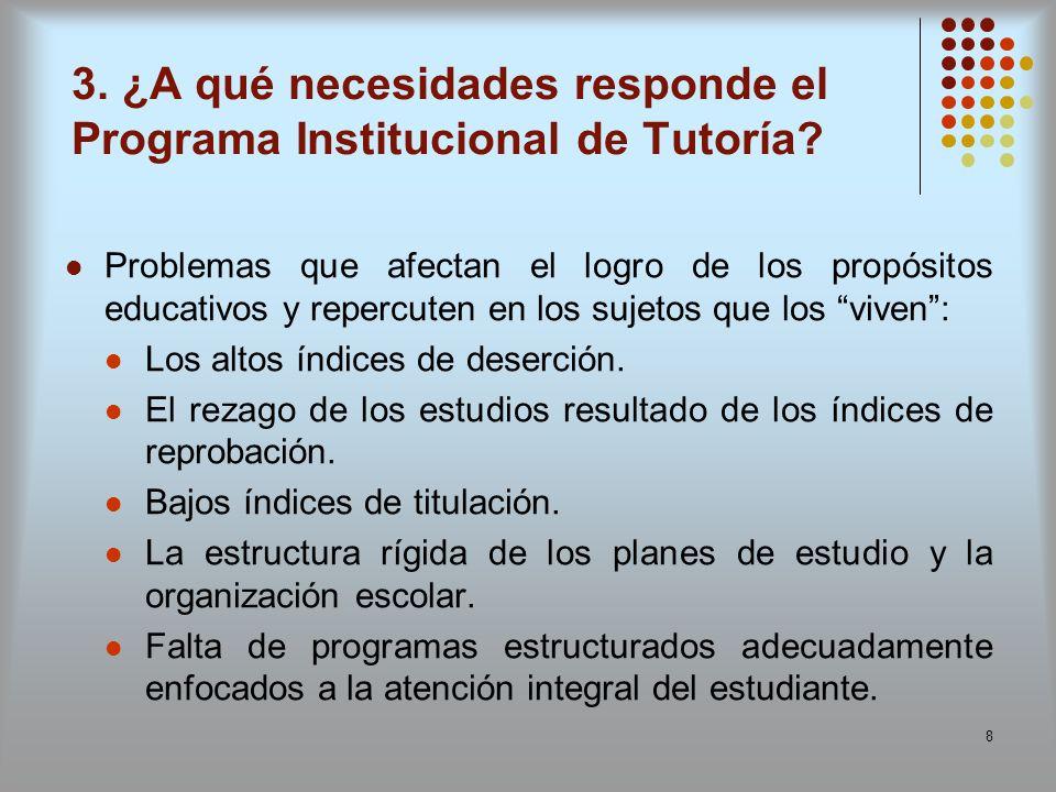 8 3. ¿A qué necesidades responde el Programa Institucional de Tutoría? Problemas que afectan el logro de los propósitos educativos y repercuten en los