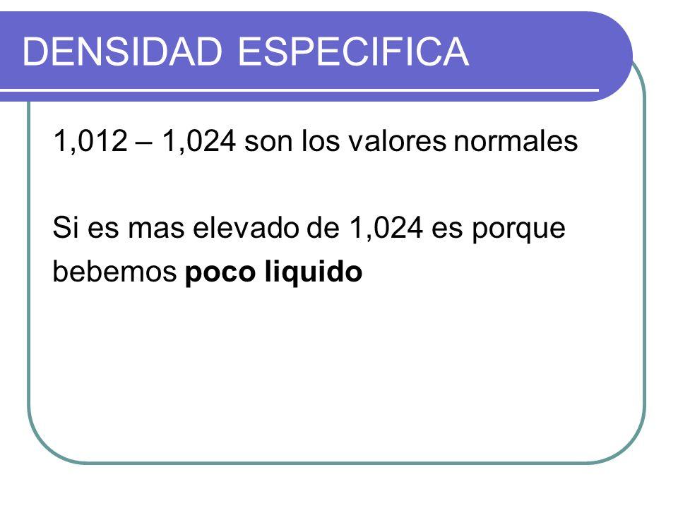 DENSIDAD ESPECIFICA 1,012 – 1,024 son los valores normales Si es mas elevado de 1,024 es porque bebemos poco liquido