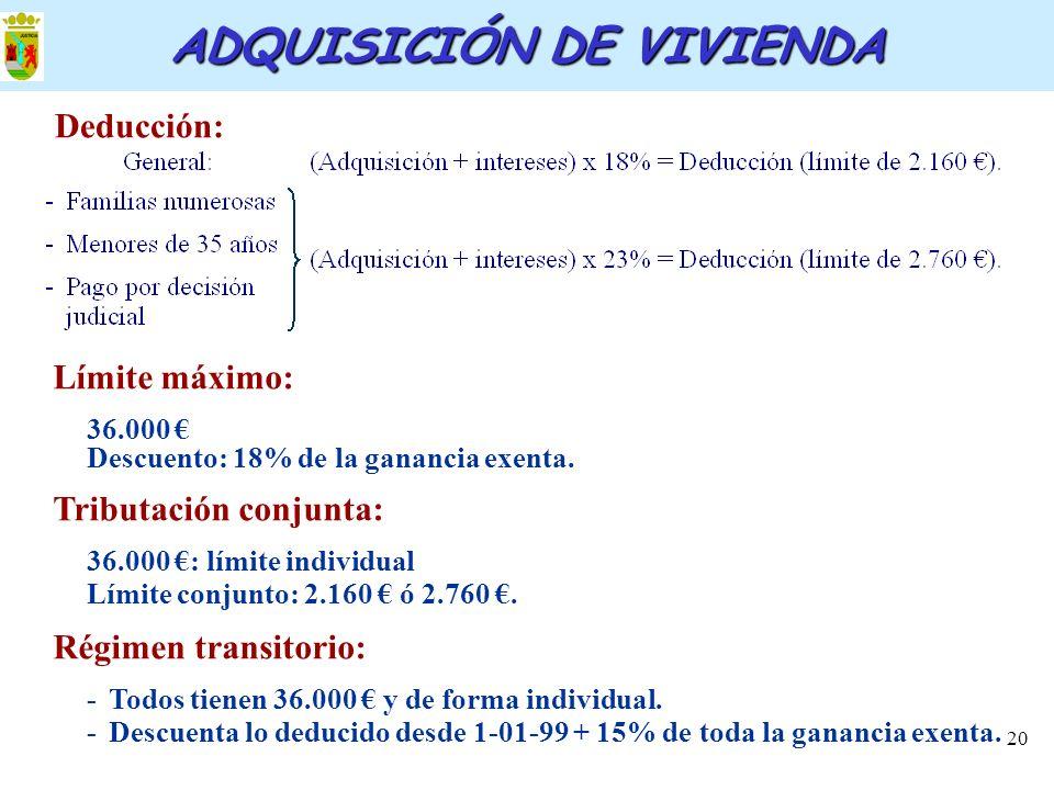 20 ADQUISICIÓN DE VIVIENDA Deducción: Límite máximo: 36.000 Descuento: 18% de la ganancia exenta. Tributación conjunta: 36.000 : límite individual Lím