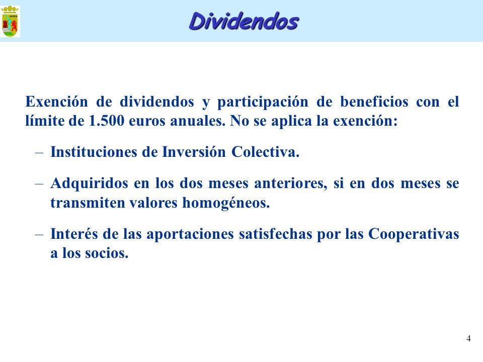 4 Exención de dividendos y participación de beneficios con el límite de 1.500 euros anuales. No se aplica la exención: –Instituciones de Inversión Col