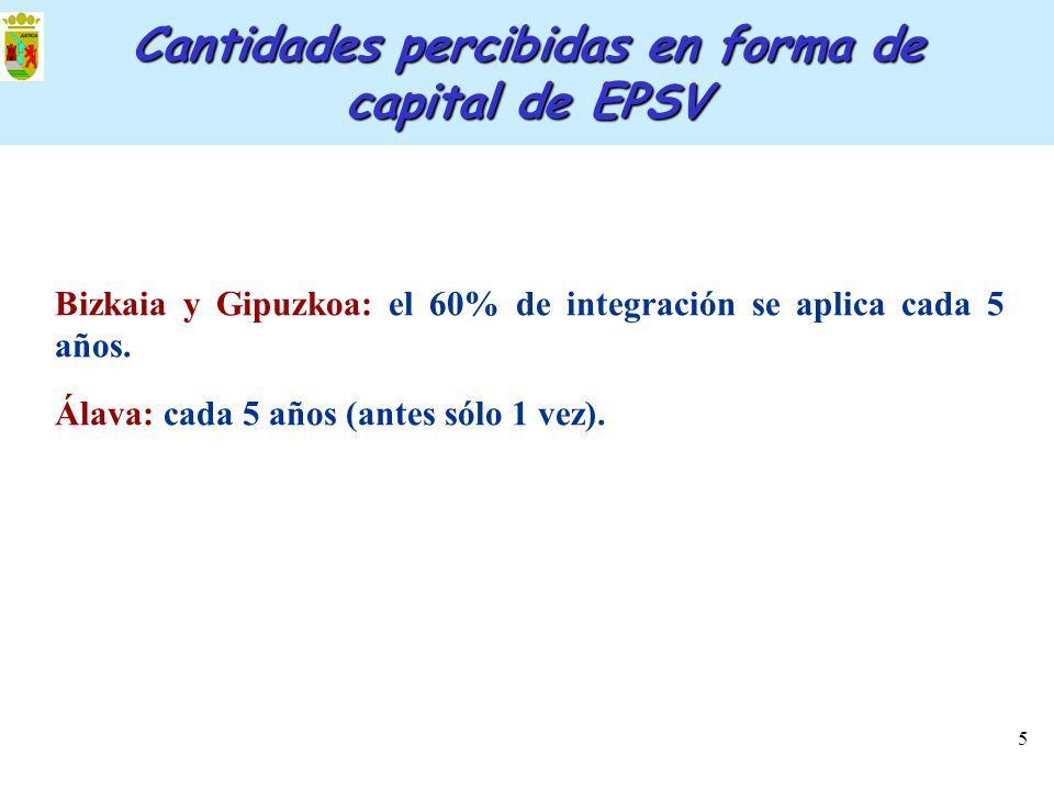 5 Cantidades percibidas en forma de capital de EPSV Bizkaia y Gipuzkoa: el 60% de integración se aplica cada 5 años. Álava: cada 5 años (antes sólo 1
