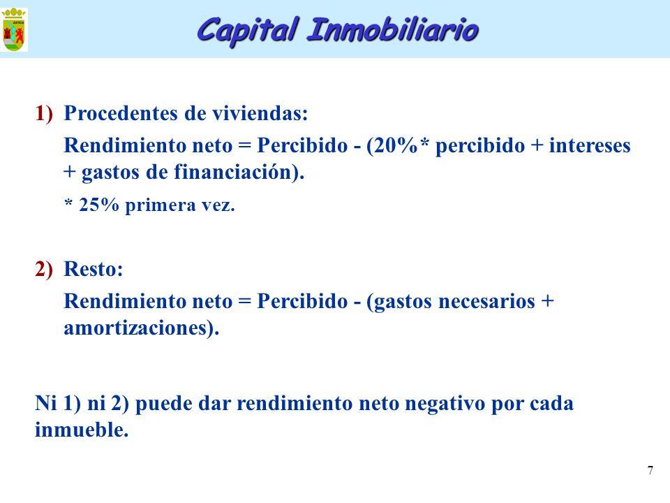 7 Capital Inmobiliario 1)Procedentes de viviendas: Rendimiento neto = Percibido - (20%* percibido + intereses + gastos de financiación). * 25% primera