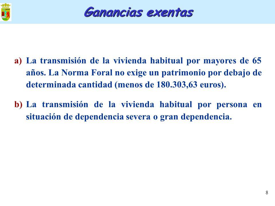 8 a)La transmisión de la vivienda habitual por mayores de 65 años. La Norma Foral no exige un patrimonio por debajo de determinada cantidad (menos de