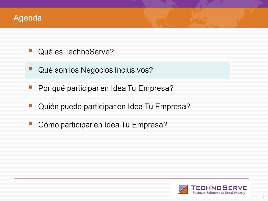4 Agenda Qué es TechnoServe.Qué son los Negocios Inclusivos.
