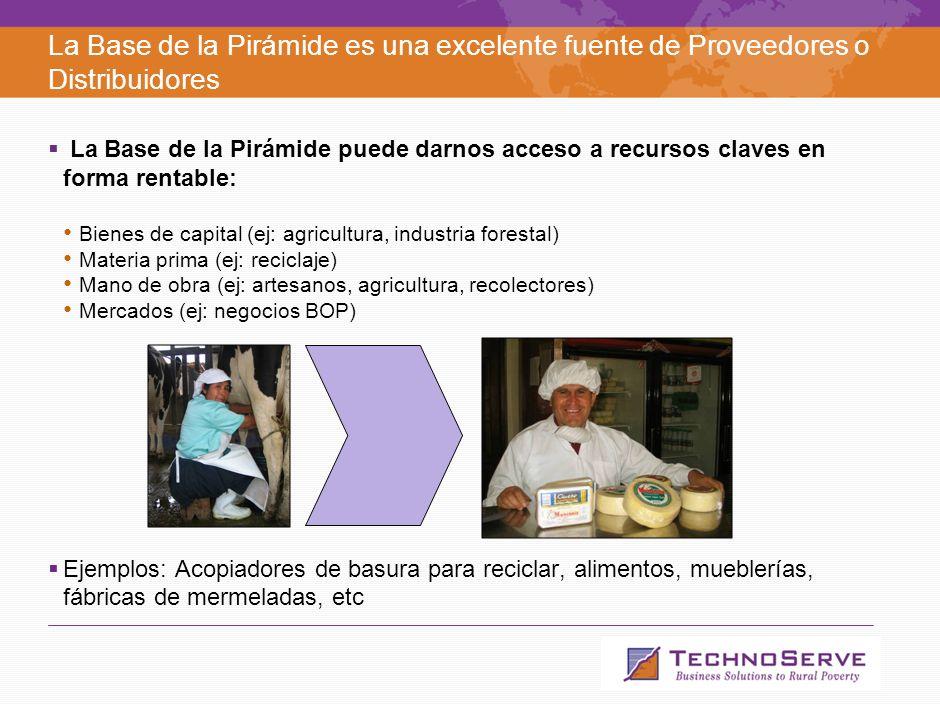 La Base de la Pirámide es un mercado con excelentes oportunidades de negocios La oportunidad: Necesidades insatisfechas: Segmentos de la base de la pirámide carecen de accesos a soluciones adecuadas para muchas necesidades (finanzas, salud, vivienda, servicios jurídicos, seguridad, etc.) Economías de escala: aprox 60% de la población en Chile vive con menos de US$10 diarios (segmentos C3, D, E) Ejemplos: centros médicos, construcción o mejora de viviendas sociales, servicios para éstas, muebles, etc.