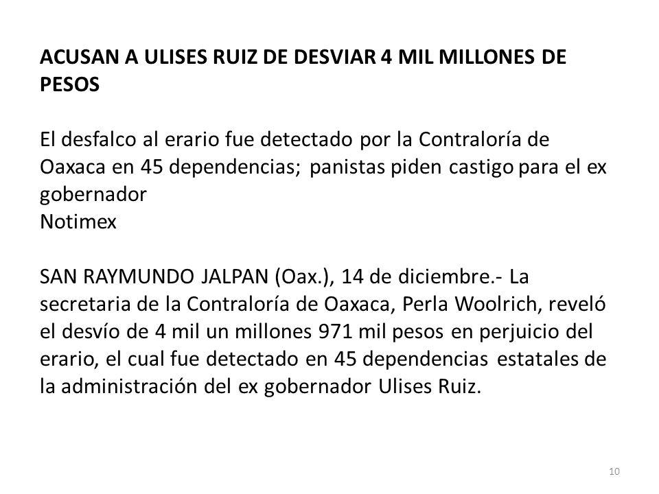 ACUSAN A ULISES RUIZ DE DESVIAR 4 MIL MILLONES DE PESOS El desfalco al erario fue detectado por la Contraloría de Oaxaca en 45 dependencias; panistas piden castigo para el ex gobernador Notimex SAN RAYMUNDO JALPAN (Oax.), 14 de diciembre.- La secretaria de la Contraloría de Oaxaca, Perla Woolrich, reveló el desvío de 4 mil un millones 971 mil pesos en perjuicio del erario, el cual fue detectado en 45 dependencias estatales de la administración del ex gobernador Ulises Ruiz.