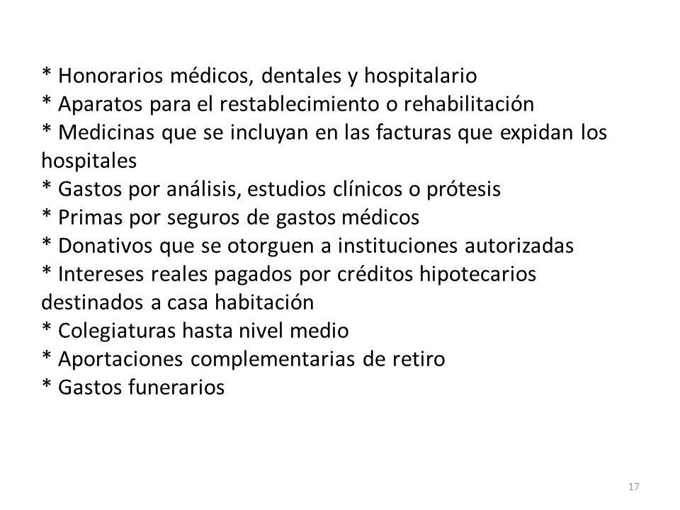 * Honorarios médicos, dentales y hospitalario * Aparatos para el restablecimiento o rehabilitación * Medicinas que se incluyan en las facturas que exp
