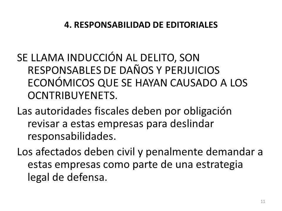 4. RESPONSABILIDAD DE EDITORIALES SE LLAMA INDUCCIÓN AL DELITO, SON RESPONSABLES DE DAÑOS Y PERJUICIOS ECONÓMICOS QUE SE HAYAN CAUSADO A LOS OCNTRIBUY