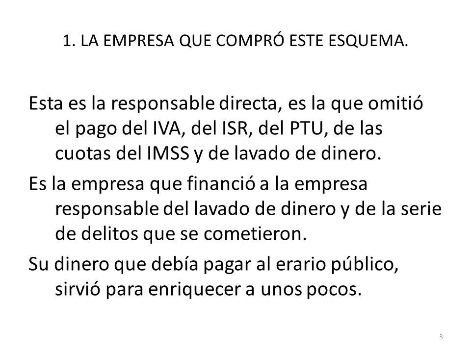 1. LA EMPRESA QUE COMPRÓ ESTE ESQUEMA. Esta es la responsable directa, es la que omitió el pago del IVA, del ISR, del PTU, de las cuotas del IMSS y de