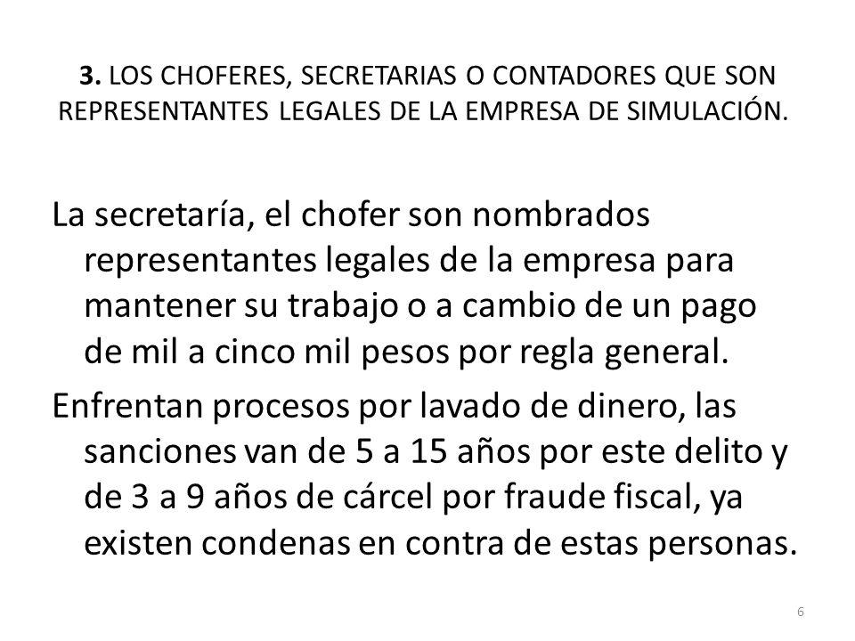 3. LOS CHOFERES, SECRETARIAS O CONTADORES QUE SON REPRESENTANTES LEGALES DE LA EMPRESA DE SIMULACIÓN. La secretaría, el chofer son nombrados represent