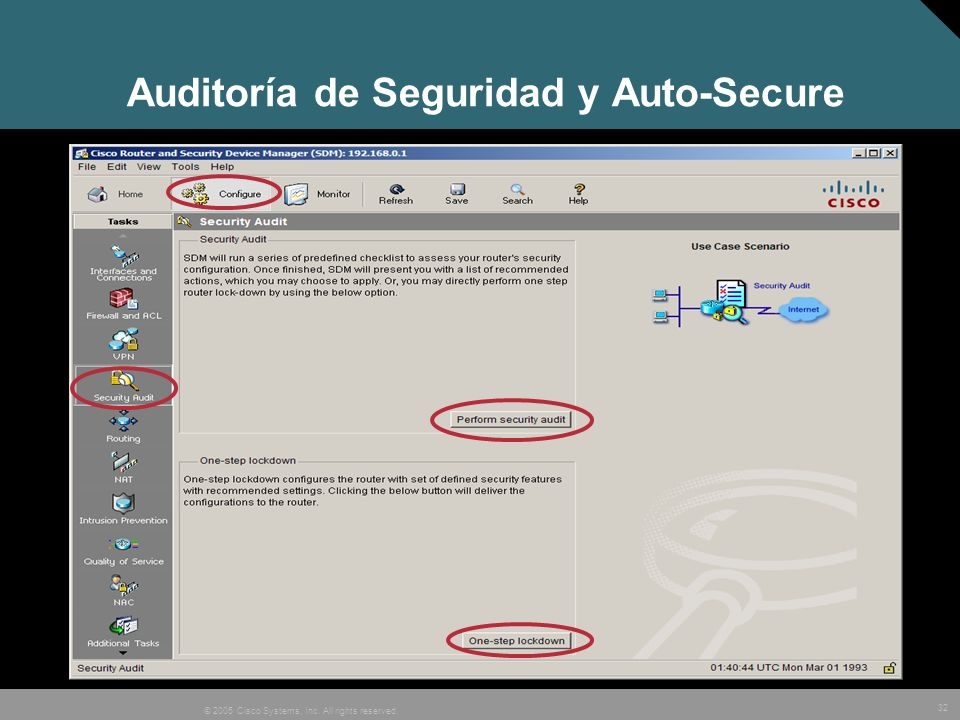 32 © 2005 Cisco Systems, Inc. All rights reserved. Auditoría de Seguridad y Auto-Secure