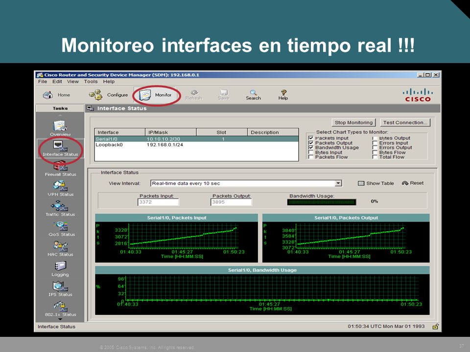 37 © 2005 Cisco Systems, Inc. All rights reserved. Monitoreo interfaces en tiempo real !!!