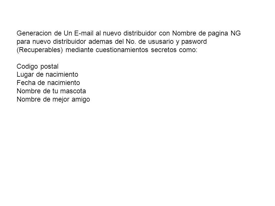 Generacion de Un E-mail al nuevo distribuidor con Nombre de pagina NG para nuevo distribuidor ademas del No. de ususario y pasword (Recuperables) medi