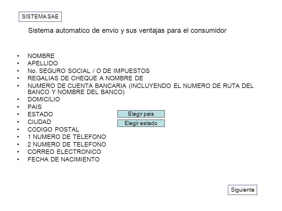 NOMBRE APELLIDO No. SEGURO SOCIAL / O DE IMPUESTOS REGALIAS DE CHEQUE A NOMBRE DE NUMERO DE CUENTA BANCARIA (INCLUYENDO EL NUMERO DE RUTA DEL BANCO Y